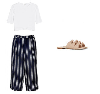 t-shirt summer culottes striped culottes sandals summer outfits white top white t-shirt slide shoes