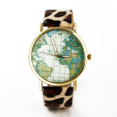 Fashion Leather Watchband Round World Map Dial Quartz Watches - DualShine