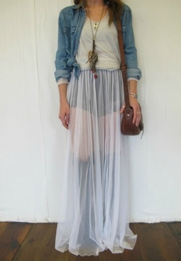 Skirt: maxi skirt, sheer, white, see through, transparent, long ...
