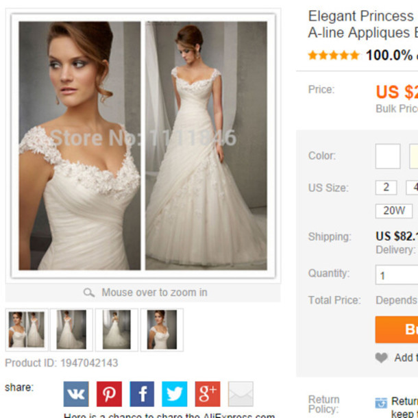 Dress Princess Wedding Dress Capped Sleeves Wedding Gown Lace