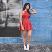 dress,graduation dresses,red dress,hollow dresses,pleated dress,sleeveless dresses,a lines dresses,haltered dresses,above-knee dresses