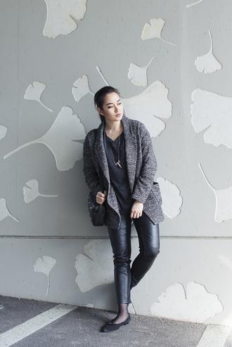 blaastyle blogger leather pants grey jacket