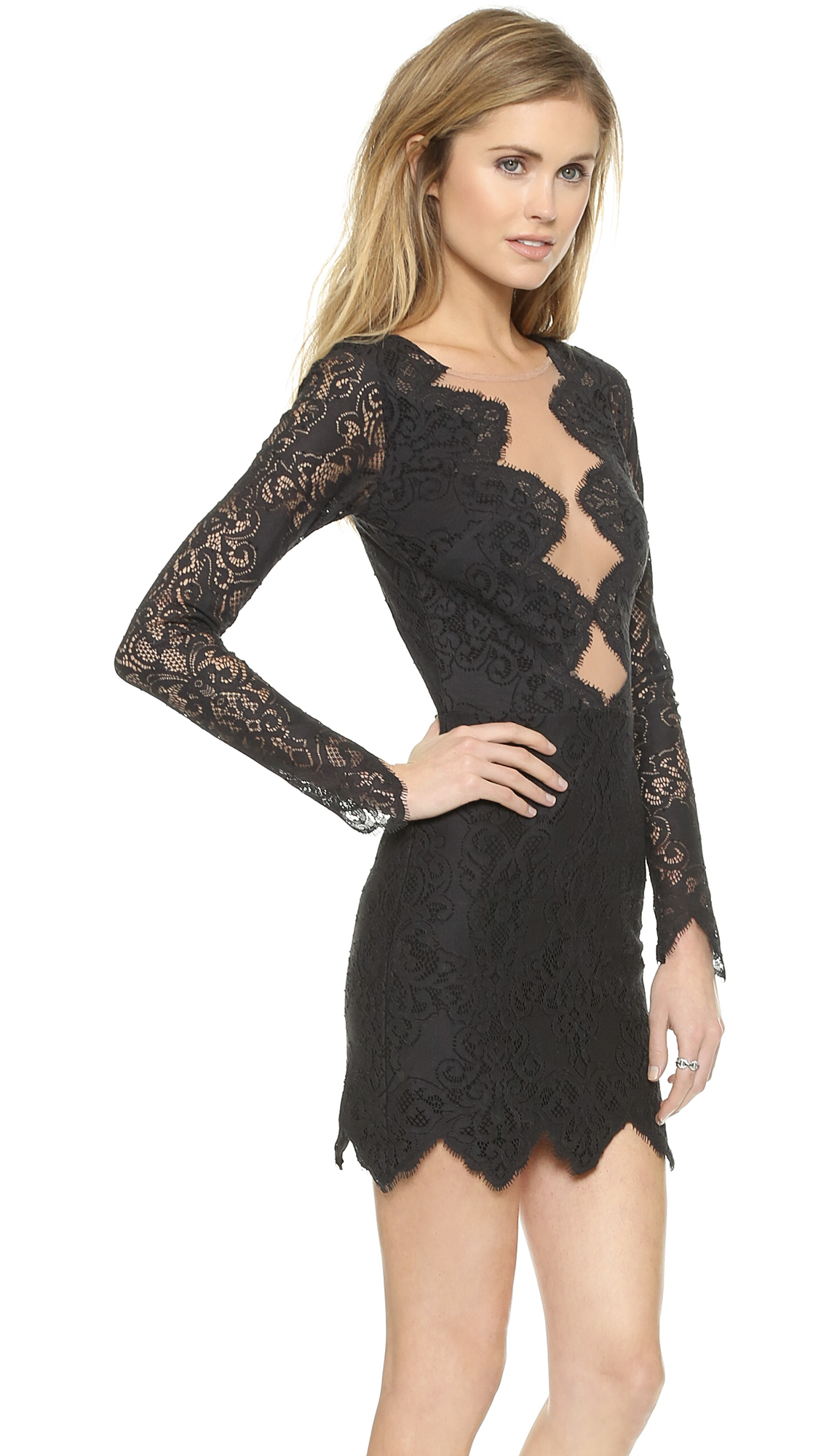For love & lemons noir lace mini dress