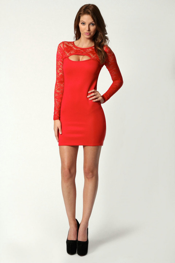 dress red dress lace dress bright red