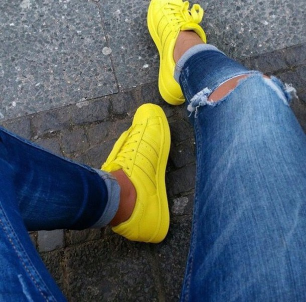 bcda334de9d9 shoes adidas yellow adidas superstars superstar bright sneakers bright yellow  sneakers adidas supercolor low top sneakers