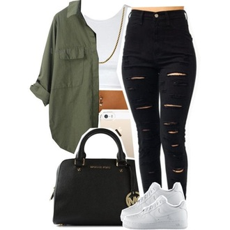 shoes army green jacket white top black jeans black high waisted pants nike running shoes pants cardigan blouse olive green blouse