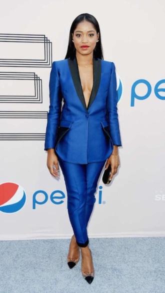 jacket keke palmer pipe/smoking woman blue shirt