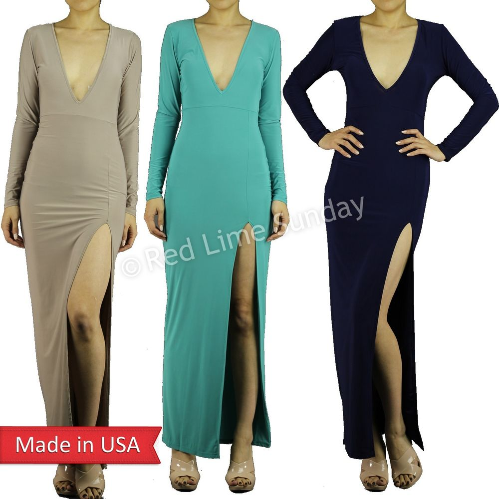 New High Waist Deep Cleavage V Neck Long Sleeve Split Slit Color Maxi Dress USA
