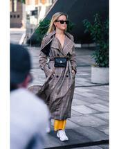 coat,checkered,sneakers,white sneakers,belt bag,black sunglasses,earrings,yellow pants