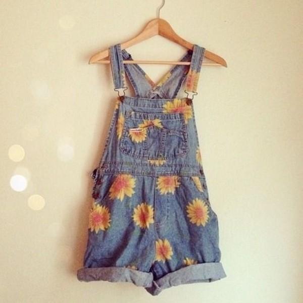 shorts jeans denim cute flowers denim overalls overalls sunflower