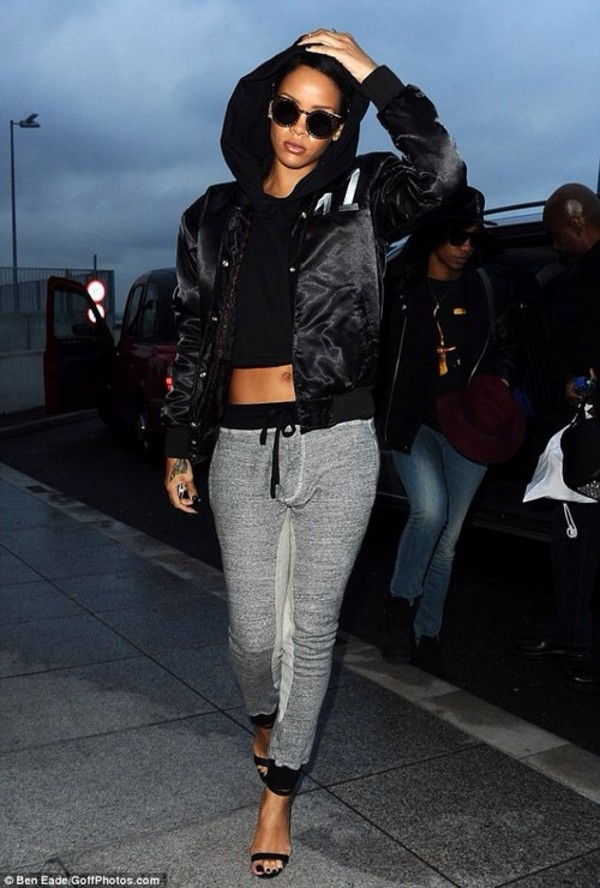 pants rihanna grey heels joggers sweatpants leggings