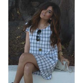 dress smock dress tartan print dress shift dress