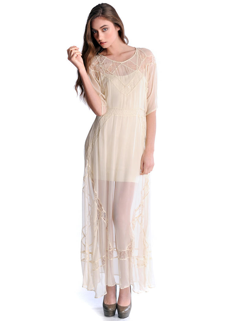 Panelled Lace Chiffon Long Tee Dress (cream) - Shakuhachi Designer ...