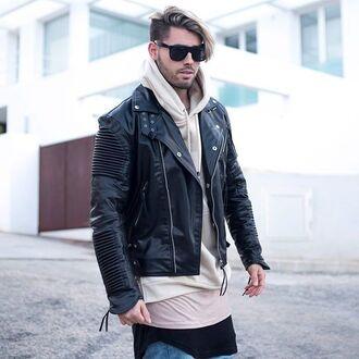 jacket maniere de voir leather ribbed biker faux coat black pleather beige hoody long sleeves essential top 36683