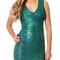 Woodgrain foil print v neck midi bandage dress green