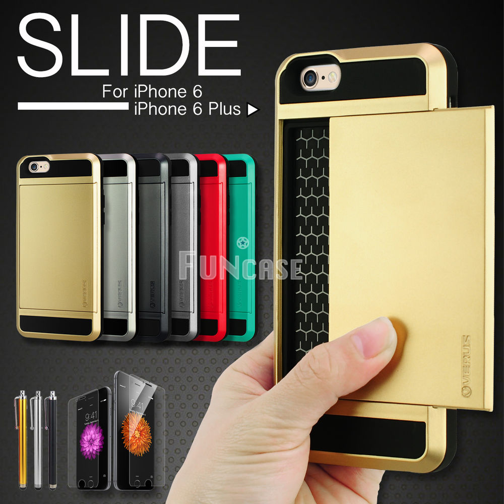 Card pocket ShockProof Slim Hybrid wallet case cover for iPhone 6 4.7 ...