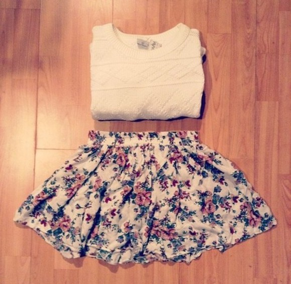 skirt knitted sweater floral floral skirt