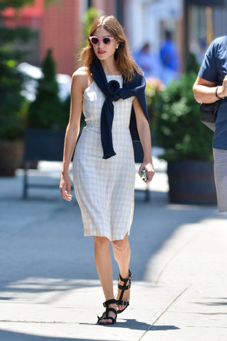 shoes sandals black sandals flat sandals black low heel sandals dress midi dress checkered white dress sweater sunglasses pink sunglasses alexa chung celebrity