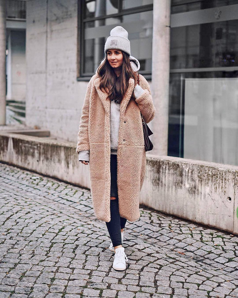 hat beanie grey beanie coat camel camel coat teddy bear coat denim jeans black jeans ripped jeans sneakers white sneakers winter outfits