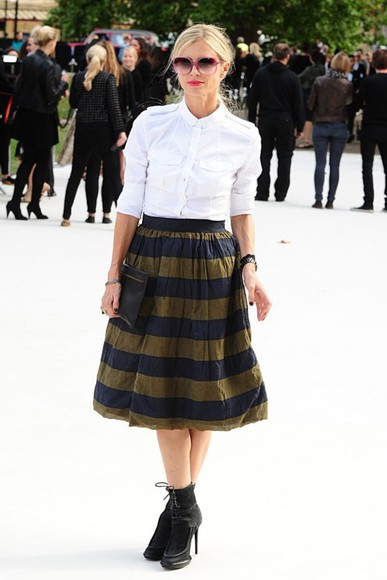 horizontal stripes skirt blue gold yellow striped skirt
