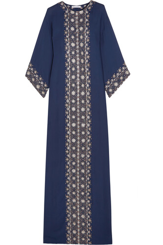 gown embroidered embellished silk navy dress