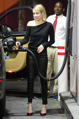 pants pumps top black leather pants emma roberts spring outfits shoes