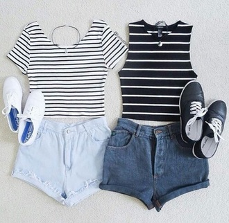 blouse black white black and white grunge pale stripes vans sleeveless top shirt striped top yin yang