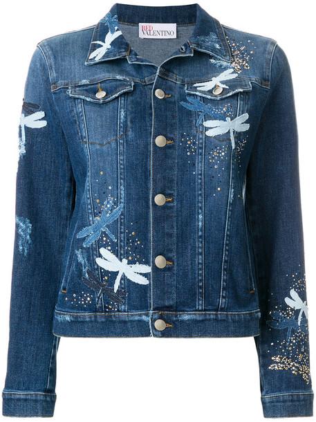 jacket denim jacket denim women spandex dragonfly cotton blue
