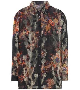blouse jacquard silk top