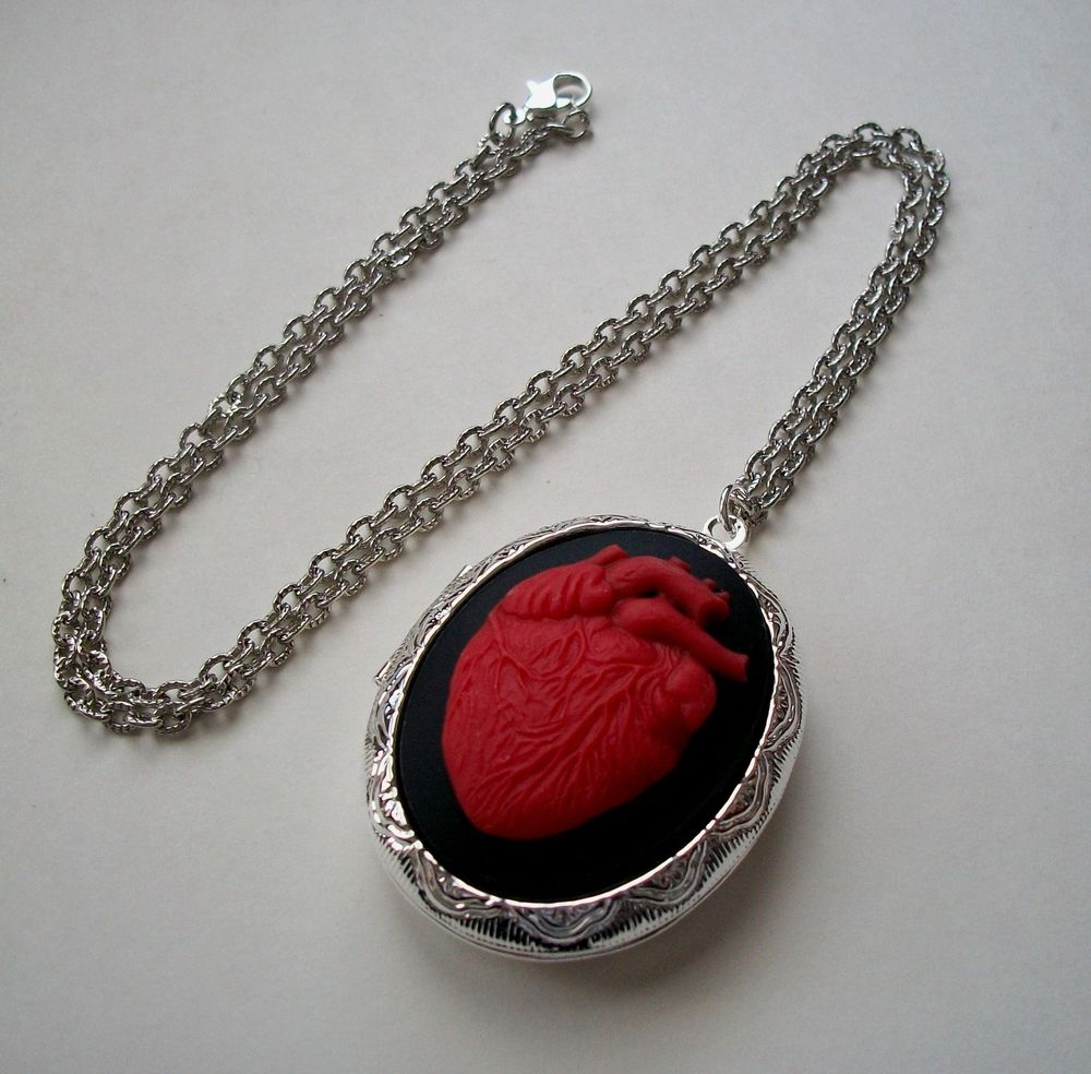 Anatomical Red Human Heart Anatomy Cameo Silver Locket Necklace Day of The Dead | eBay
