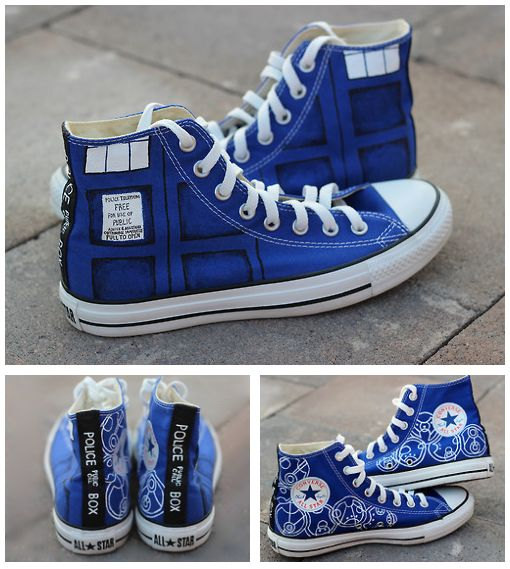 1f1232781707 Doctor Who Custom Converse   Dr Who Converse   DW   Tardis ...