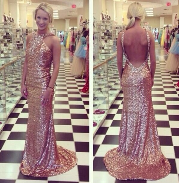 dress prom dress long prom dress copper sequins open back dresses