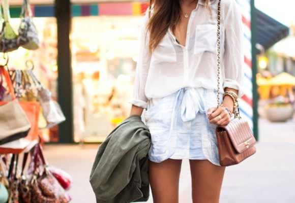 tie up white skirt acid wash baby blue sheer shirt