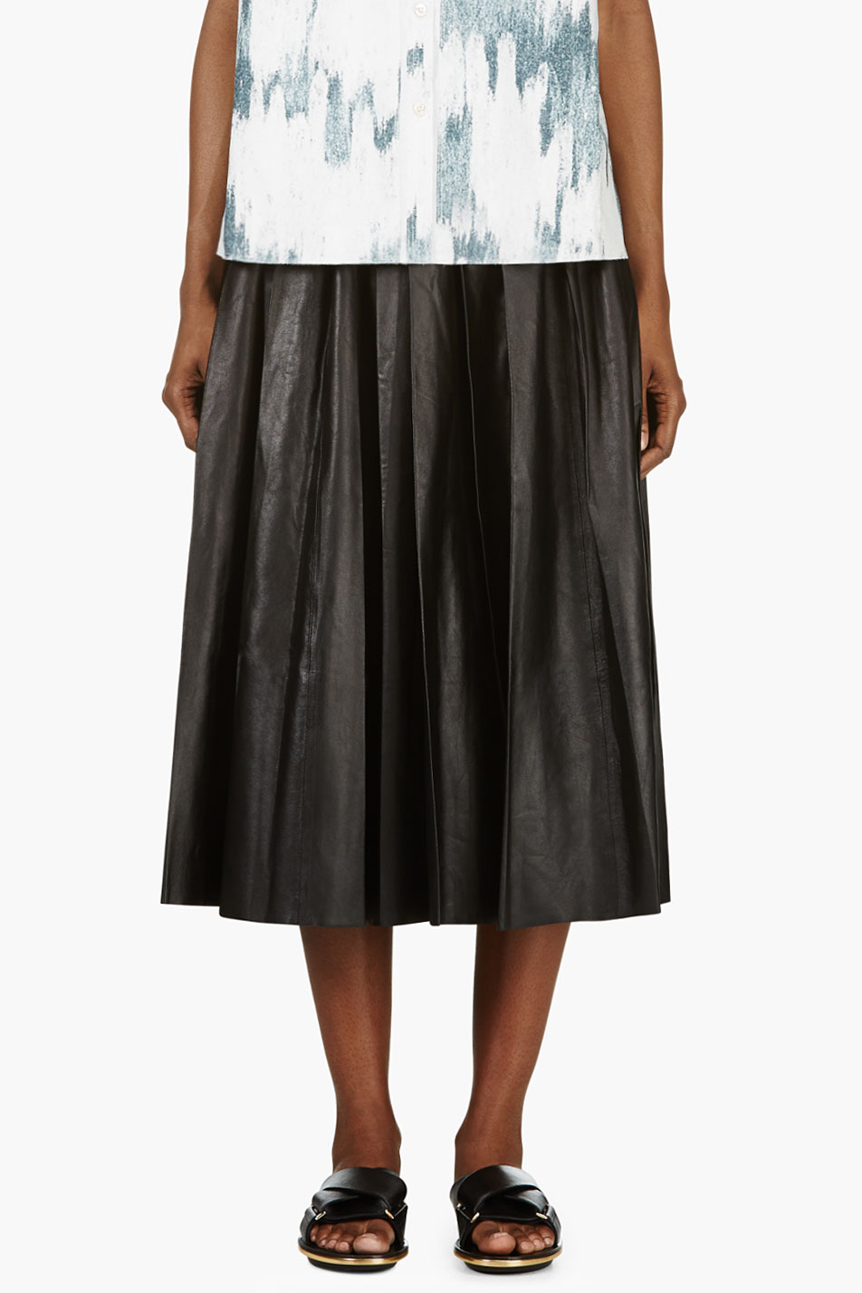 blk dnm black leather pleated skirt