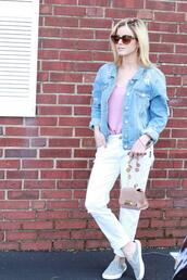 kim tuttle,the knotted chain - a style blog by kim tuttle,blogger,top,jacket,jeans,shoes,bag