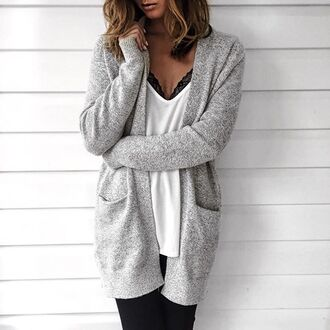 cardigan tumblr grey cardigan white top long cardigan for all things lovely blogger tank top leggings sweater jeans sunglasses bag scarf shoes top jacket