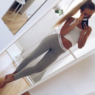 gym-bunny-boutique gym  bunny   boutique leggings gym workout leggings grey leggings sportswear calvin klein