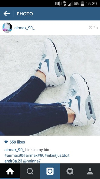 shoes nike air max 90 blue and white nike shoes
