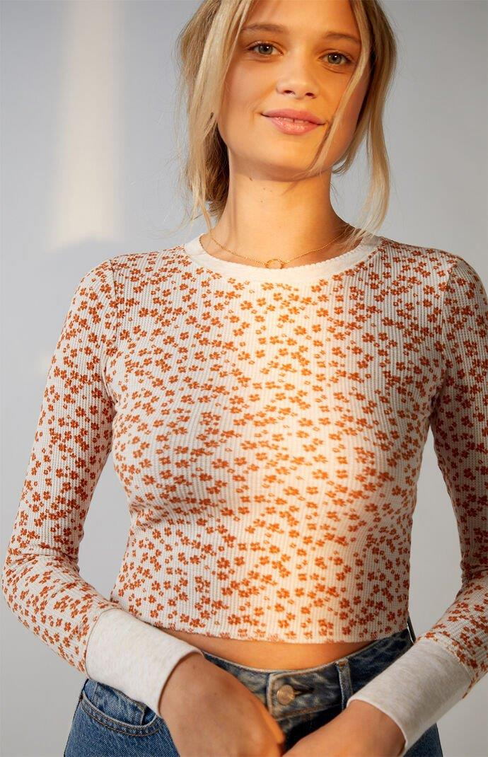 Shell Stitch Waffle Knit Long Sleeve Top