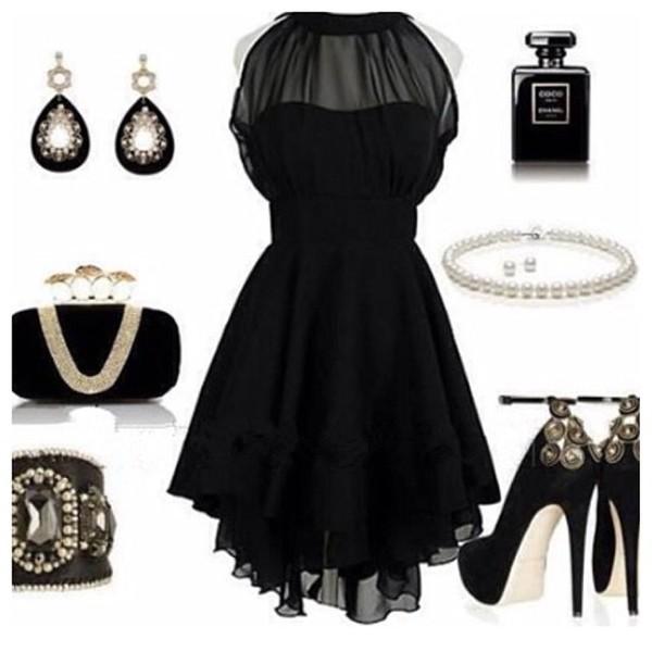dress little black dress red dress black dress bag jewels