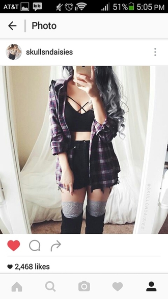 blouse bralette strappy flannel shorts edgy dark grunge summer beautiful fashion