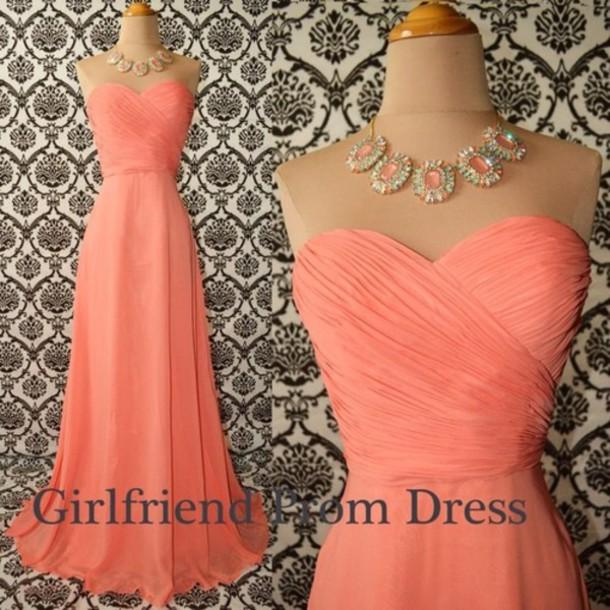 dress love heart shape pink long chiffon sleeve less