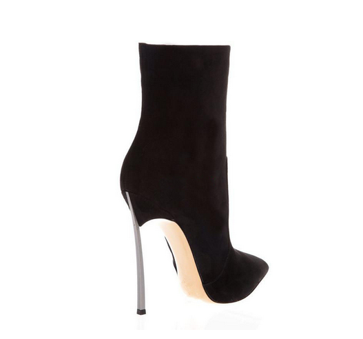 Pointed toe suede boots black high heels heel knee ankle silver