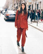 pants,red pants,boots,blazer,streetstyle