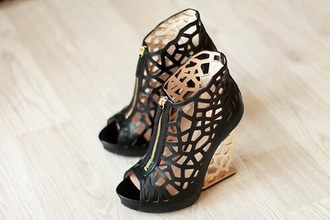 shoes black gold cut out boots heels leather metal