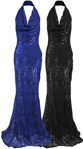 WOMENS FISHTAIL HALTER NECK SEQUIN SHEATH COCKTAIL MAXI LADIES EVENING DRESS | eBay