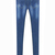 Blue Pockets Ripped Bleached Slim Denim Pant - Sheinside.com