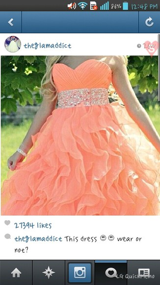 dress peach dress ball gown beautiful dress