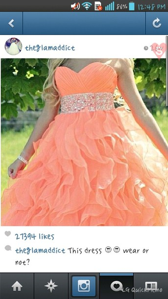 dress peach dress ball gown dress dress