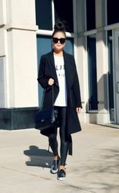 leggings,black leggings,leather leggings,shoes,slip on shoes,coat,black coat,sunglasses,white t-shirt,t-shirt
